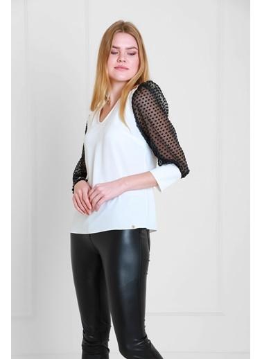 JEANNE D'ARC Kolları Yakma Organze Kumaş V Yaka Bluz Jb19841 Beyaz